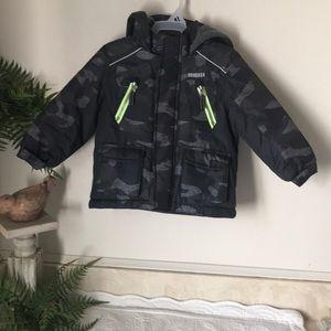 OSHKOSH Puffer CAMO Jacket w Hood Grey / Black 24m